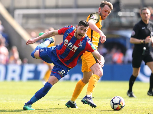 Joel Ward and Dale Stephens during the Premier League match between Crystal Palace and Brighton & Hove Albion on April 14, 2018
