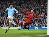 Leroy Sane's goal is ruled offside in the Champions League quarter-final second leg between Manchester City and Liverpool on April 10, 2018