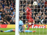 Mohamed Salah scores during the Champions League quarter-final second leg between Manchester City and Liverpool on April 10, 2018