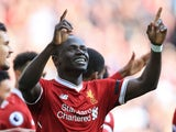 Sadio Mane celebrates scoring in the Premier League game between Liverpool and Bournemouth on April 14, 2018