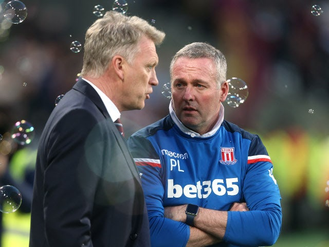 David Moyes and Paul Lambert at the Premier League match between West Ham United and Stoke City on April 16, 2018