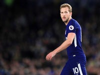 Harry Kane during the Premier League match between Brighton & Hove Albion and Tottenham Hotspur on April 17, 2018
