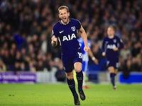 Tottenham Hotspur's Harry Kane celebrates scoring against Brighton & Hove Albion on April 17, 2018
