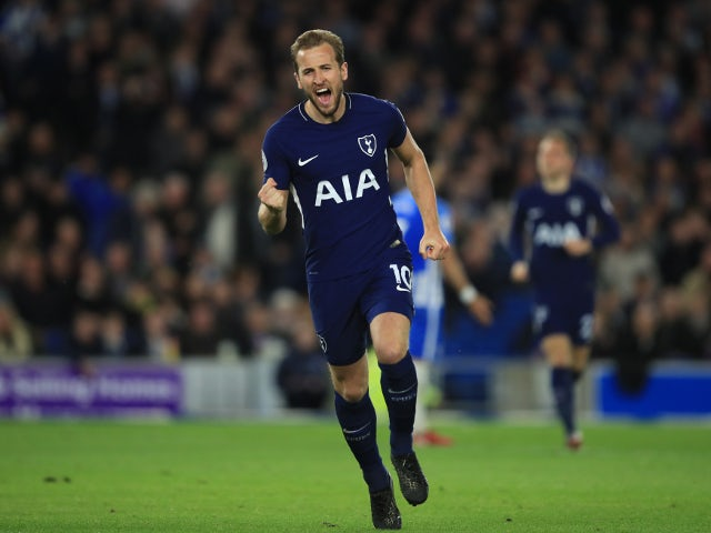 Tottenham Hotspur's Harry Kane celebrates scoring against Brighton & Hove Albion on April 17, 2018