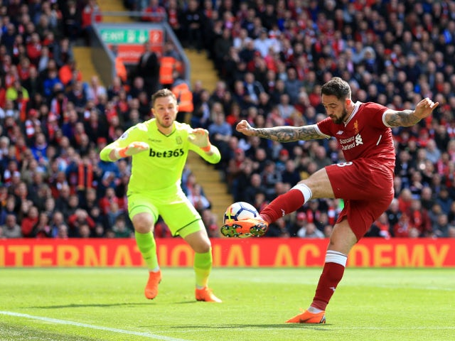 Danny Ings's goal is disallowed in the Premier League match between Liverpool and Stoke City on April 28, 2018