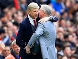 Sir Alex Ferguson embraces Arsenal manager Arsene Wenger on April 29, 2018