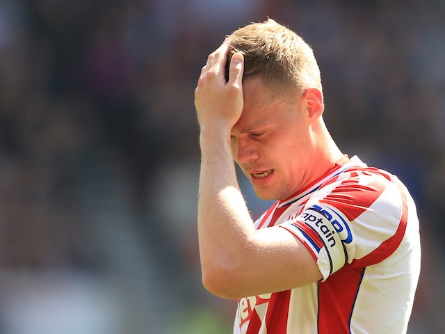 Ryan Shawcross in tears during the Premier League game between Stoke City and Crystal Palace on May 5, 2018