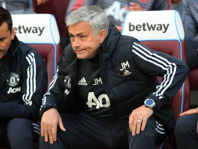 Jose Mourinho at the Premier League match between West Ham United and Manchester United on May 10, 2018