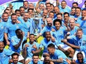 Manchester City players and staff celebrate winning the Premier League on May 6, 2018