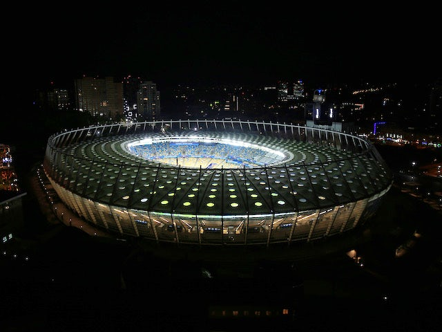 A night-time view of Kiev's NSC Olimpiyskiy Stadium ahead of the Champions League final between Liverpool and Real Madrid on May 26, 2018
