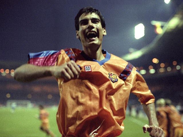 Pep Guardiola playing for Barcelona