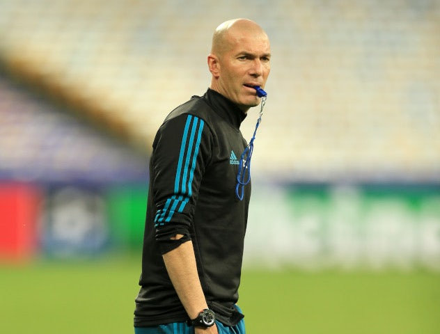 Zinedine Zidane prior to Real Madrid's Champions League final clash against Liverpool at the NSC Olimpiyskiy Stadium in Kiev