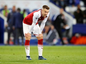 Arsenal midfielder Aaron Ramsey in action during his side's Premier League clash with Leicester City on May 9, 2018