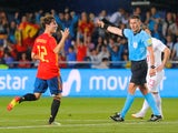 Spain's Alvaro Odriozola celebrates scoring their first goal in the international friendly with Switzerland on June 3, 2018