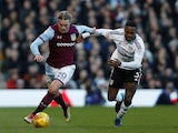Birkir Bjarnason in action for Aston Villa alongside Fulham's Ryan Sessegnon on February 17, 2018