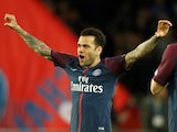 Paris Saint-Germain defender Dani Alves in action during his side's Ligue 1 clash with Monaco on April 15, 2018