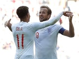 England and Tottenham Hotspur teammates Dele Alli and Harry Kane celebrate during the international friendly with Nigeria on June 2, 2018
