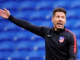 Atletico Madrid manager Diego Simeone directs his team in training ahead of the 2018 Europa League final