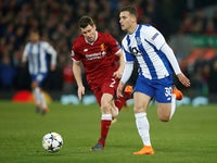 Porto's Diogo Dalot comes up against James Milner of Liverpool in the Champions League on March 6, 2018