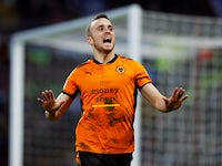 Diogo Jota celebrates scoring for Wolverhampton Wanderers on March 10, 2018