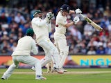 Dom Bess loses his wicket during the second day's play of the second Test between England and Pakistan on June 2, 2018