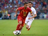 Eden Hazard in action during the international friendly between Belgium and Portugal on June 2, 2018