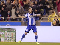 Deportivo La Coruna forward Florin Andone in action in a La Liga match against Atletico Madrid on March 2, 2017