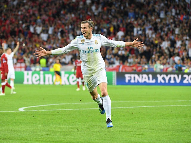 Gareth Bale celebrates scoring during the Champions League final between Real Madrid and Liverpool on May 26, 2018