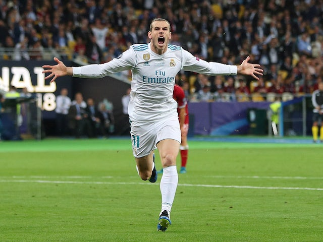 Real Madrid forward Gareth Bale celebrates after scoring in the Champions League final against Liverpool in Kiev on May 26, 2018