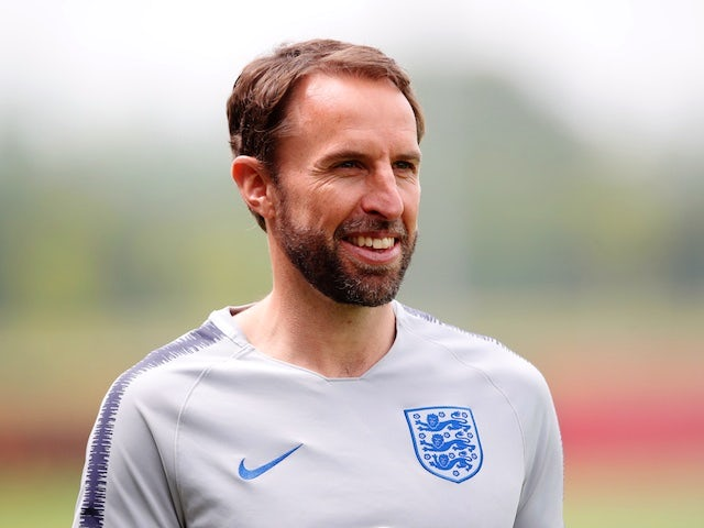 England manager Gareth Southgate watches on during training ahead of the 2018 World Cup