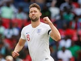 England defender Gary Cahill celebrates opening the scoring during his side's friendly with Nigeria at Wembley on June 2, 2018