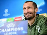 Giorgio Chiellini at a Juventus Champions League press conference on April 2, 2018
