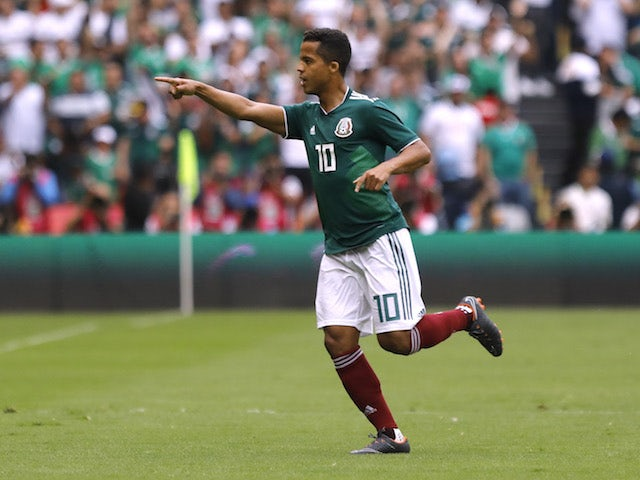Giovani dos Santos celebrates scoring during the international friendly between Mexico and Scotland on June 3, 2018