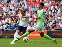 Harry Kane scores the second during the international friendly between England and Nigeria at Wembley on June 2, 2018
