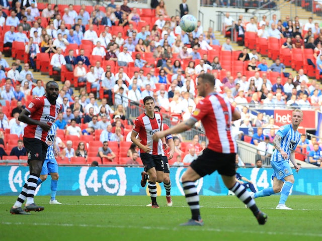 Jack Grimmer makes it three during the League Two playoff final between Exeter City and Coventry City on May 28, 2018