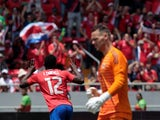 Costa Rica's Joel Campbell celebrates scoring during his side's international friendly with Northern Ireland on June 3, 2018