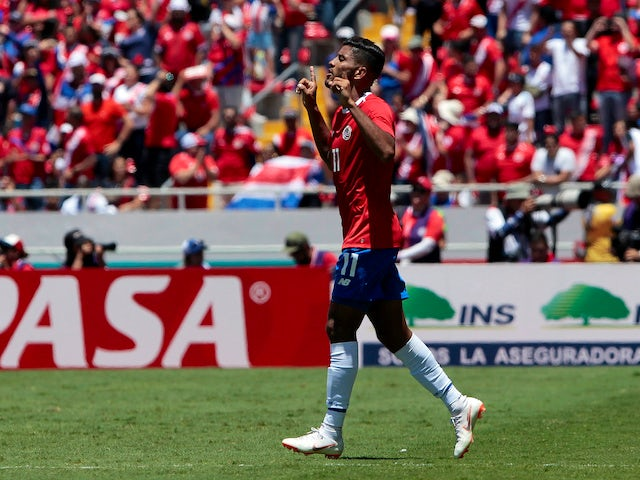 Costa Rica's Johan Venegas celebrates scoring during his side's international friendly with Northern Ireland on June 3, 2018