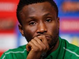 Nigeria's John Obi Mikel during a press conference on June 1, 2018