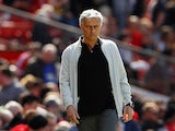 Manchester United manager Jose Mourinho patrols the touchline during a Premier League match against Watford at Old Trafford