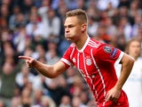 Bayern Munich's Joshua Kimmich celebrates scoring in the Champions League semi-final second leg against Real Madrid on May 1, 2018