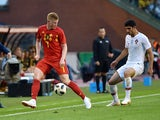 Kevin De Bruyne and Goncalo Guedes in action during the international friendly between Belgium and Portugal on June 2, 2018