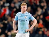 Manchester City midfielder Kevin De Bruyne in action during a Champions League clash with Liverpool at the Etihad Stadium on April 10, 2018