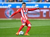 Atletico Madrid's Kevin Gameiro scores against Alaves on April 29, 2018