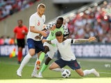 Kieran Trippier, Eric Dier and Victor Moses in action during the international friendly between England and Nigeria at Wembley on June 2, 2018