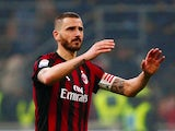 AC Milan defender Leonardo Bonucci in action during his side's Serie A clash with Inter Milan on April 4, 2018