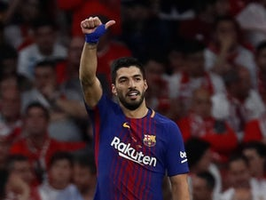 Barcelona forward Luis Suarez in action during his side's Copa del Rey match against Sevilla on April 21, 2018