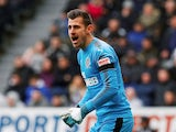 Newcastle United goalkeeper Martin Dubravka in action during his side's Premier League clash with Huddersfield Town on March 31, 2018