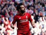 Liverpool forward Mohamed Salah in action during the Premier League clash with Brighton on May 13, 2018