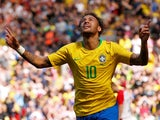 Brazil and Paris Saint-Germain forward Neymar in action during the World Cup warm-up match against Croatia at Anfield on June 3, 2018