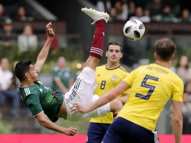 Raul Jimenez in action during the international friendly between Mexico and Scotland on June 3, 2018